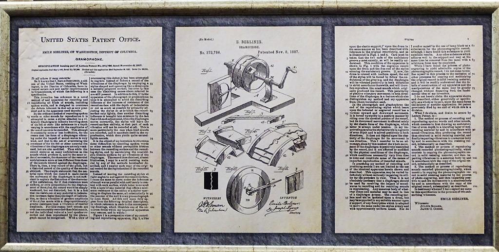 Инструкция-описание граммофона в патенте от 8 ноября 1887 года.